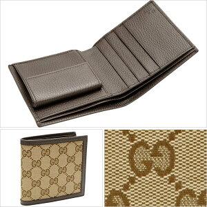 グッチ GUCCI メンズ 二つ折り財布 ベージュ×ダークブラウン GGキャンバス×レザー 150413ky9ln9903