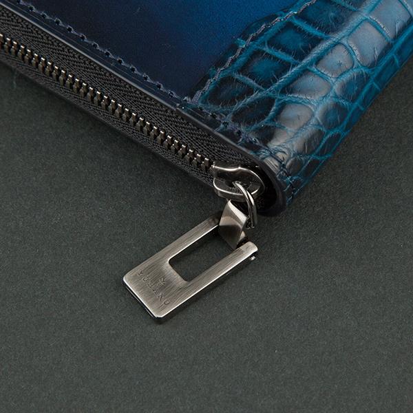 クロコダイル&ベビーカーフ ラウンドファスナー束入れYFA114_BLUE