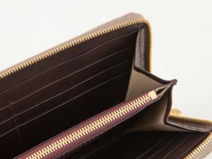 ナイルクロコダイル ラウンドジップ長財布 開くとこんな感じ