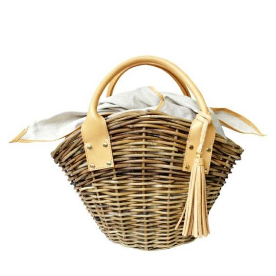 天然アラログ製かごバッグ マノン